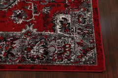 Red Silver & White Oriental Antique Area Rug