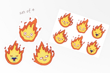 Calcifer sticker set of 4 pieces with stickersheet