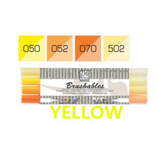 Kuretake ZIG Brushables Markers Set - 4pcs yellow