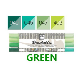 Kuretake ZIG Brushables Markers Set - 4pcs green