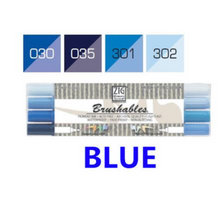 Kuretake ZIG Brushables Markers Set - 4pcs blue