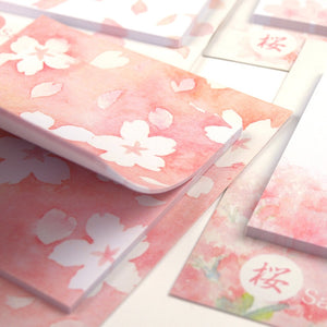 pink cherry blossoms sakura leaves sticky notes memo pad