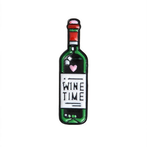 wine time bottle red wine pin enamel pin two friends drinking alcohol