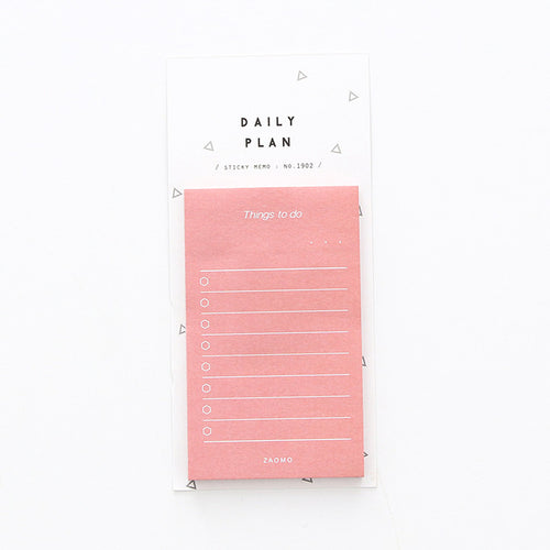 white pink sticky note week planner to do list
