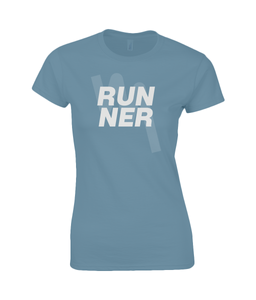 Ladies Fitted RUNNER T-Shirt - Indigo
