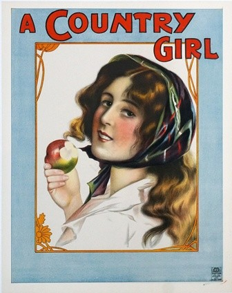 A Country Girl c1900s Original Vintage Poster