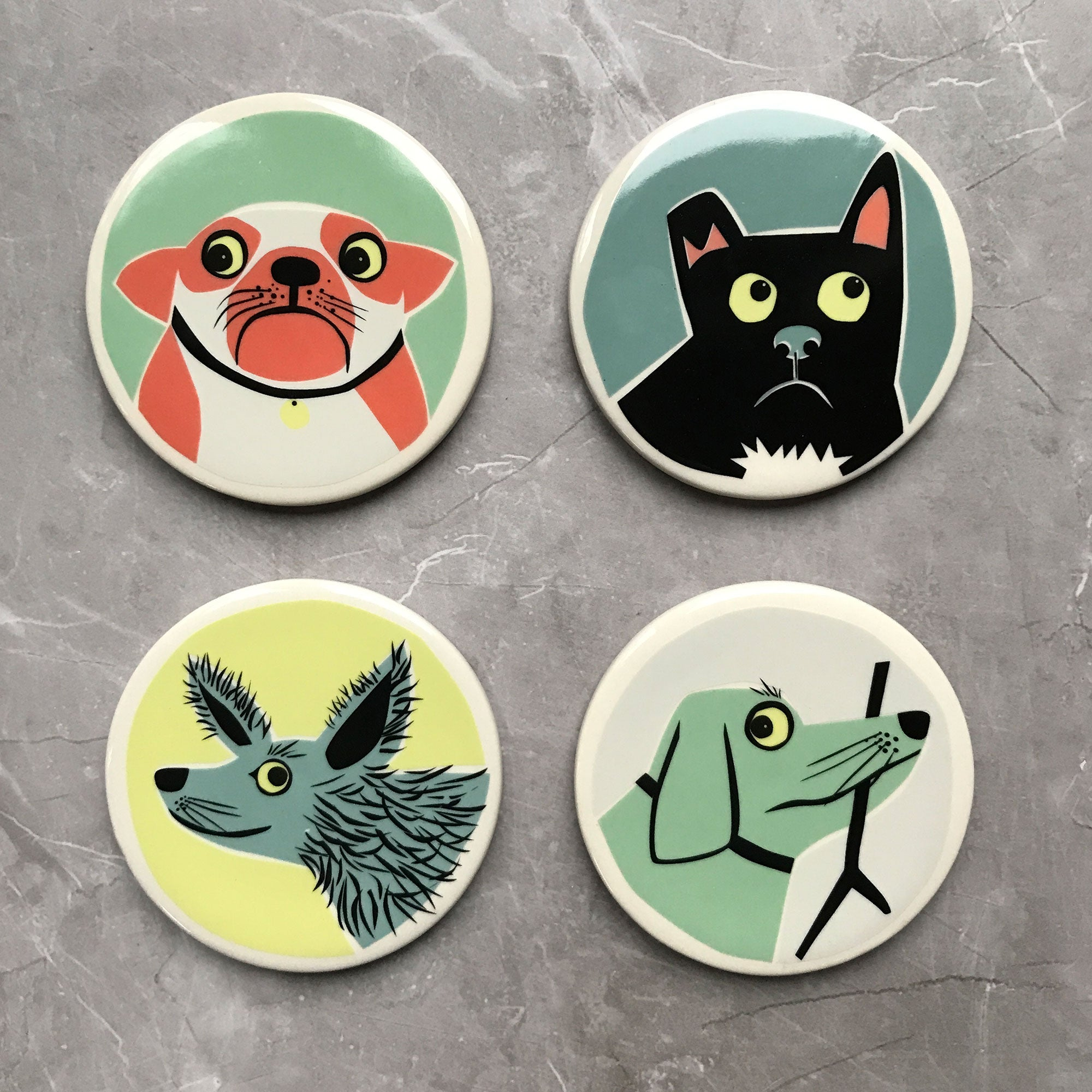 Ceramic Dog Coasters | Box Set of 4