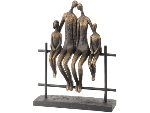 Family of Four on Bench Sculpture