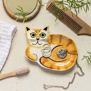 Ceramic Ginger Cat Trinket Dish