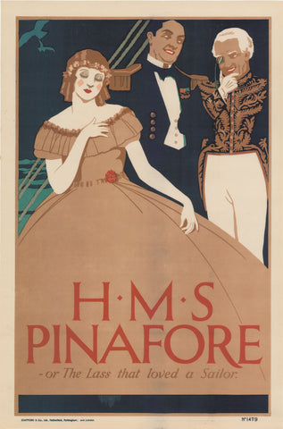 HMS Pinafore or The Lass that loved a Sailor c1900s Original Vintage Poster