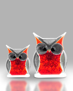Light Red Large Fused Glass Owl