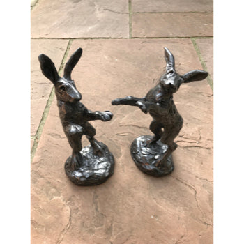 Pewter Boxing Hare Pair Red Lobster Gallery.