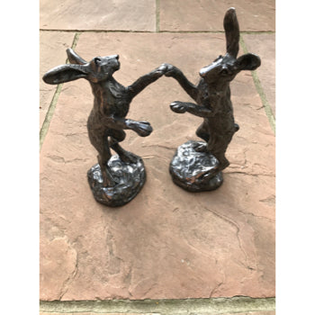 Pewter Pair Of Boxing Hares Red Lobster Gallery