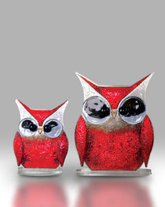 Red Fused Glass Owl