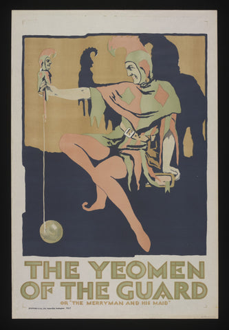 The Yeomen of the Guard or The Merryman and His Maid, Jester, Vintage Poster c1920