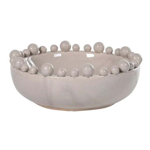 Decorative Ceramic Bowl with Balls on the Rim | Cream | CLICK & COLLECT ONLY