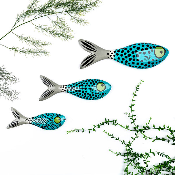 Set of 3 Blue Wall-mounted Ceramic Fish