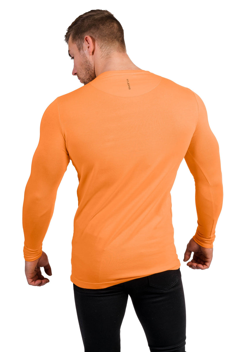 Mens Long Sleeve T Shirt - Tangerine