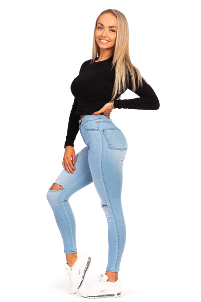 Womens Ripped Traditional High Waisted Fitjeans - Bleach Blue