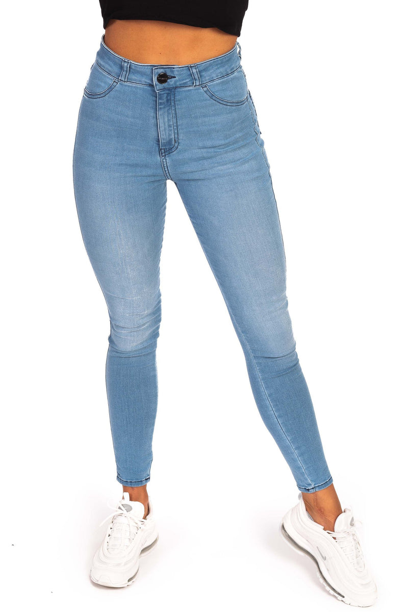 Womens Traditional High Waisted Fitjeans - Arctic Light Blue 1.0