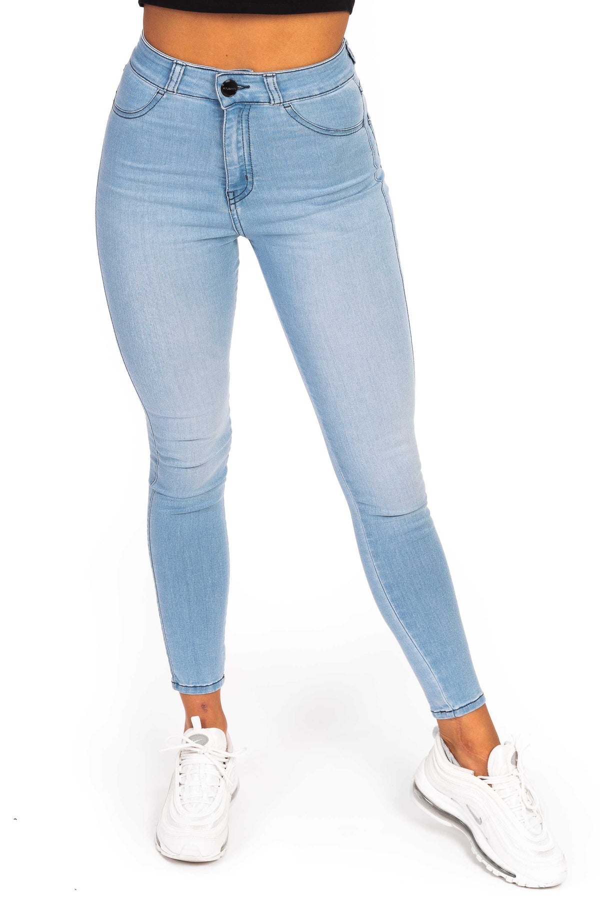 Womens Traditional High Waisted Fitjeans - Bleach Blue