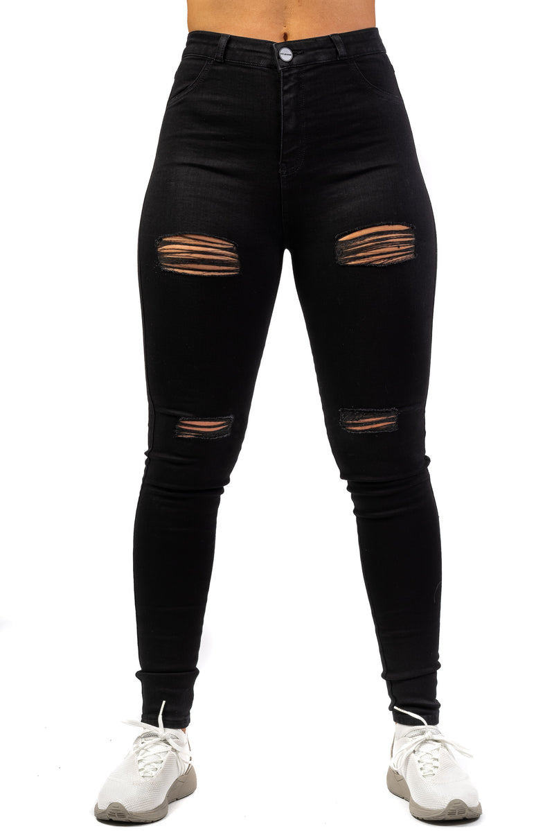 Womens Traditional 4 Hole Ripped High Waisted Fitjeans - Black
