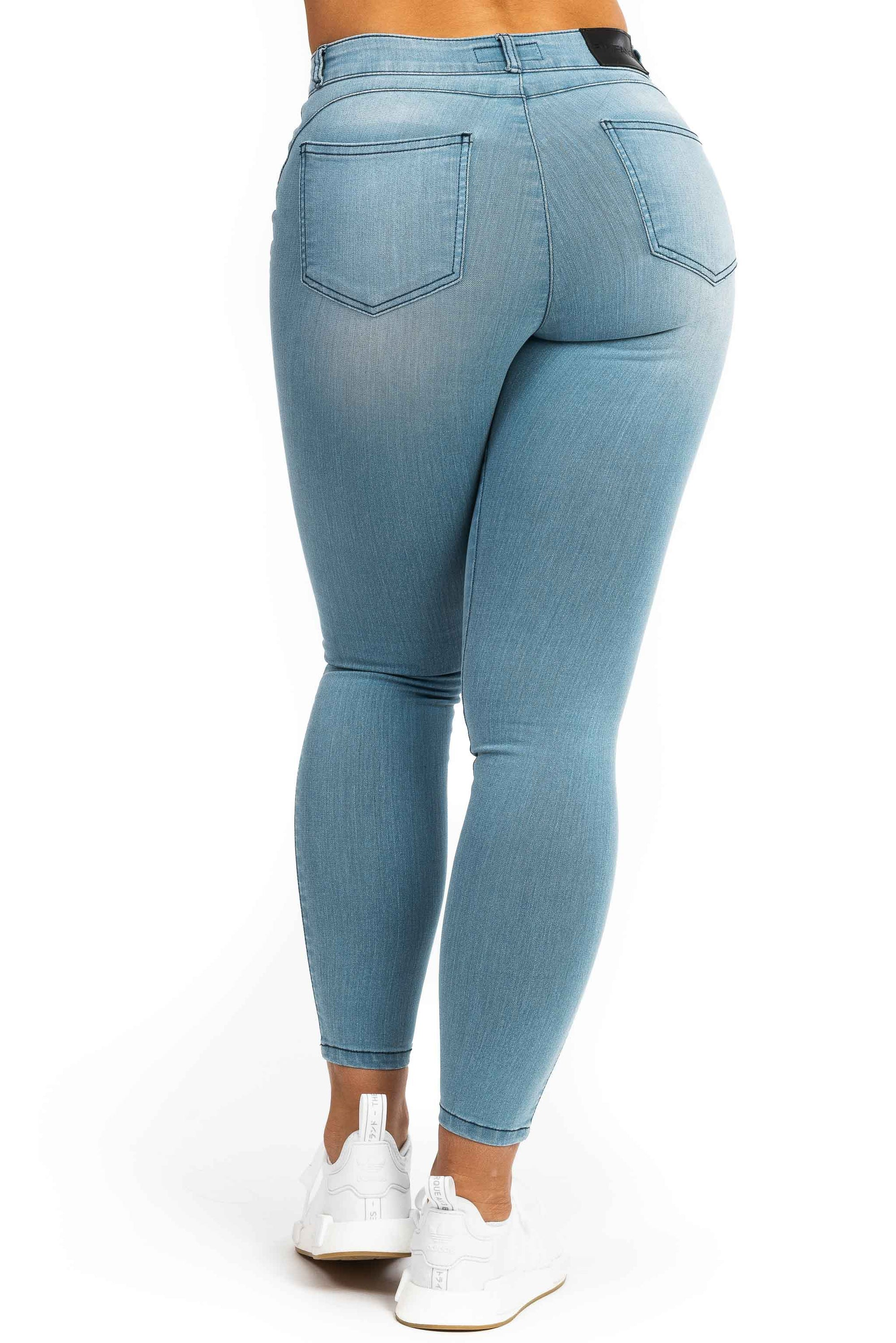 Womens Contour Mid Waisted Fitjeans - Bleach Blue