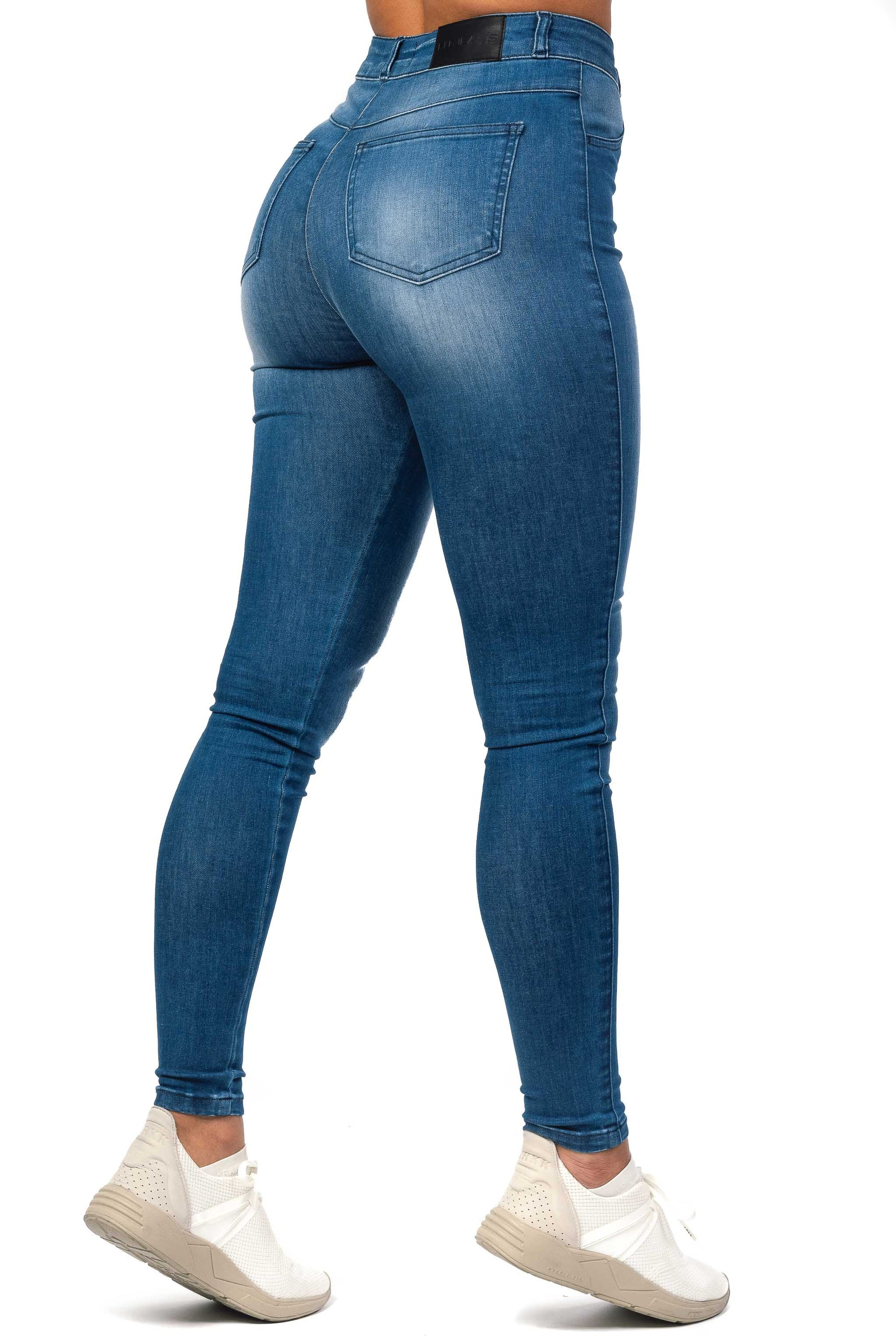Womens Regular High Waisted Fitjeans - Azure Blue