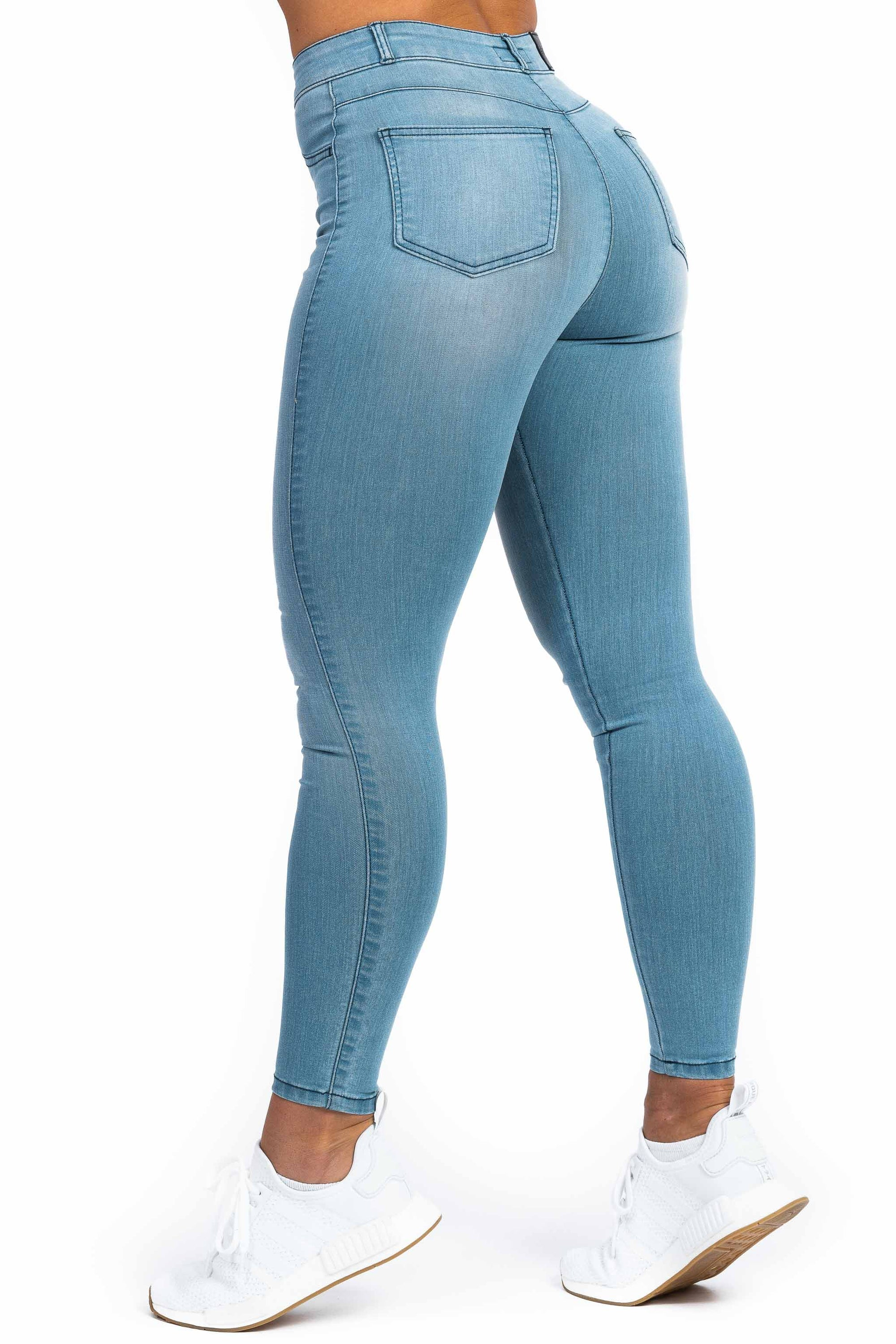 Womens Contour High Waisted Fitjeans - Bleach Blue