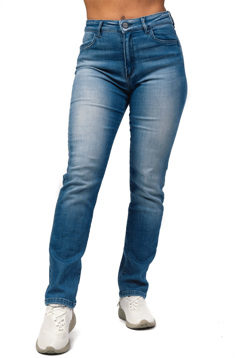 Womens High Waisted Mom Fitjeans - Azure Blue