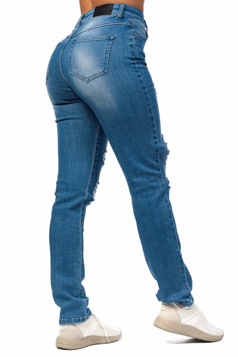 Womens High Waisted Super Ripped Mom Fitjeans - Azure Blue