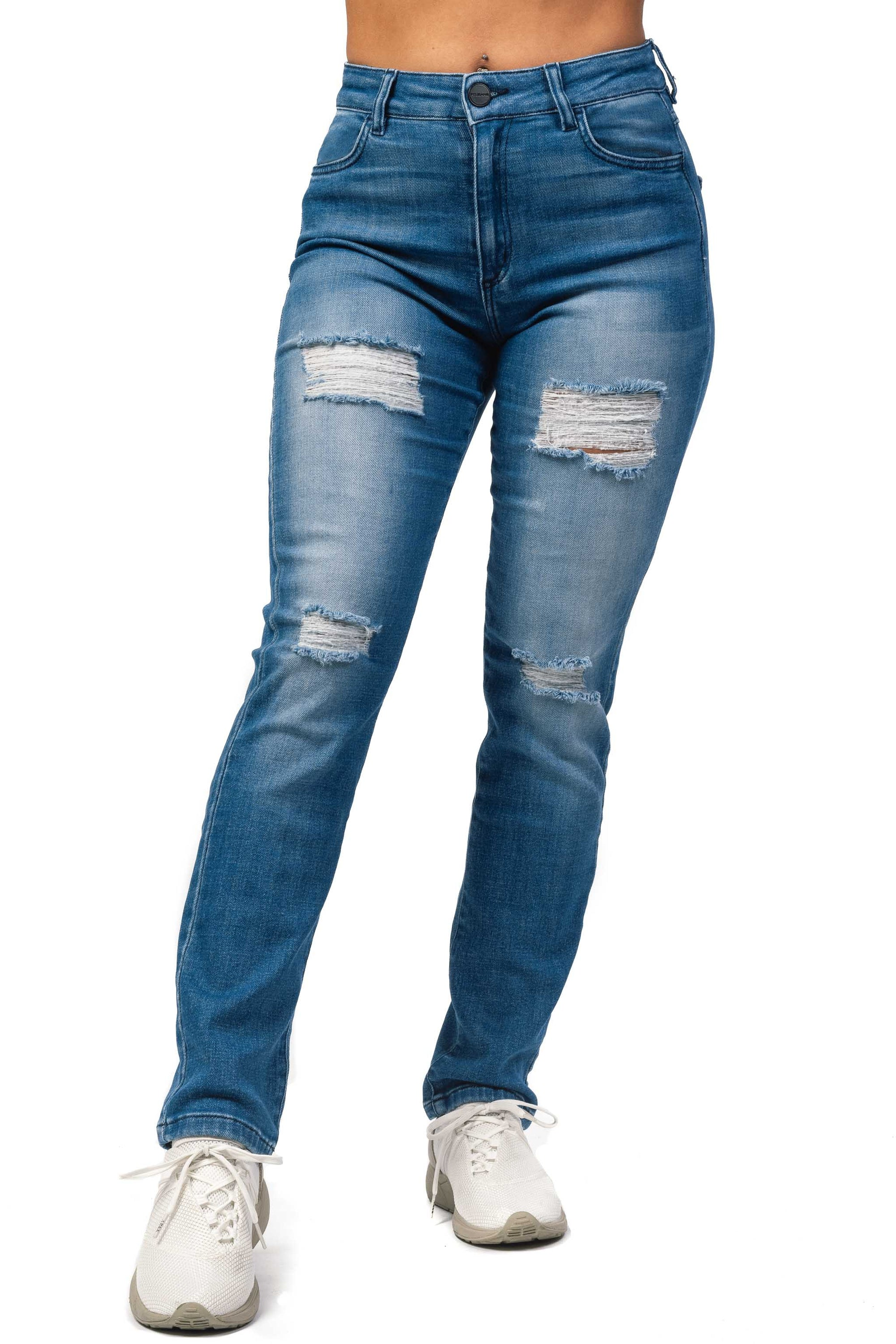 Womens High Waisted 4-Hole Mom Fitjeans - Azure Blue