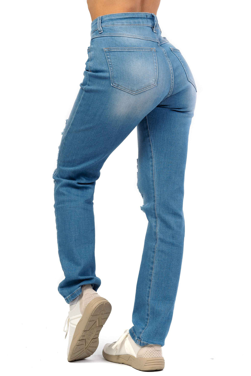 Womens High Waisted Super Ripped Mom Fitjeans - Arctic Light Blue