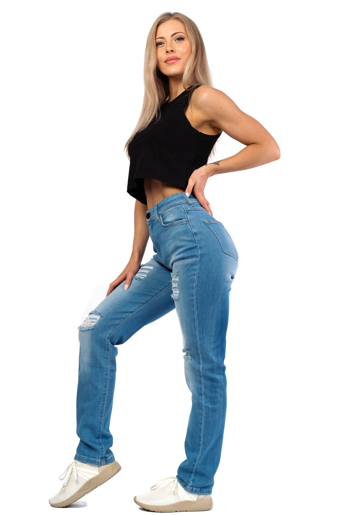Womens High Waisted 4-Hole Mom Fitjeans - Arctic Light Blue