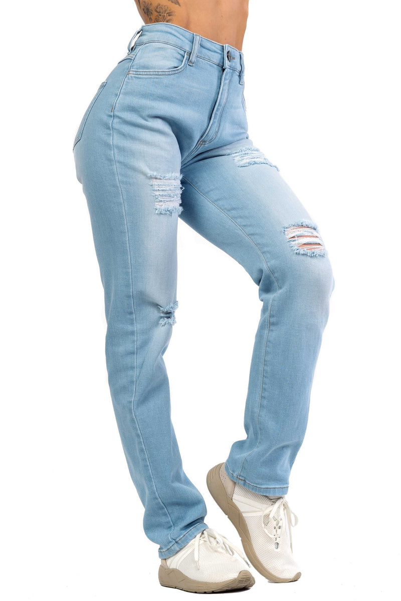 Womens High Waisted 4-Hole Mom Fitjeans - Vintage Blue