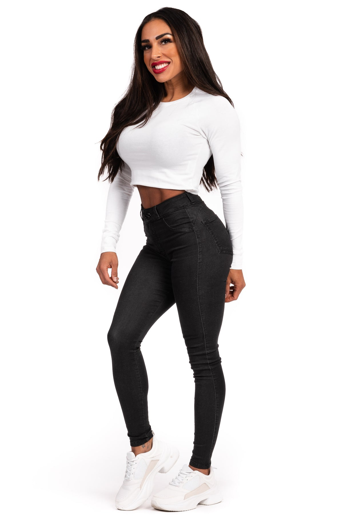 Womens Mid Waisted Stretch Chinos - Black