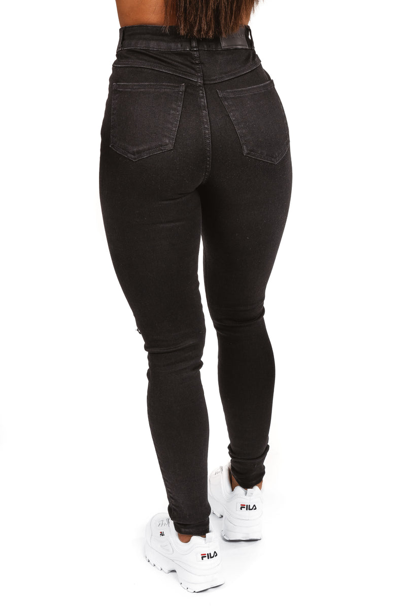 Womens Regular 4Hole Ripped High Waisted - Black