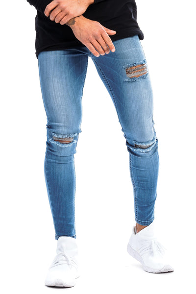 Mens Ripped Regular Fitjeans - Arctic Light Blue
