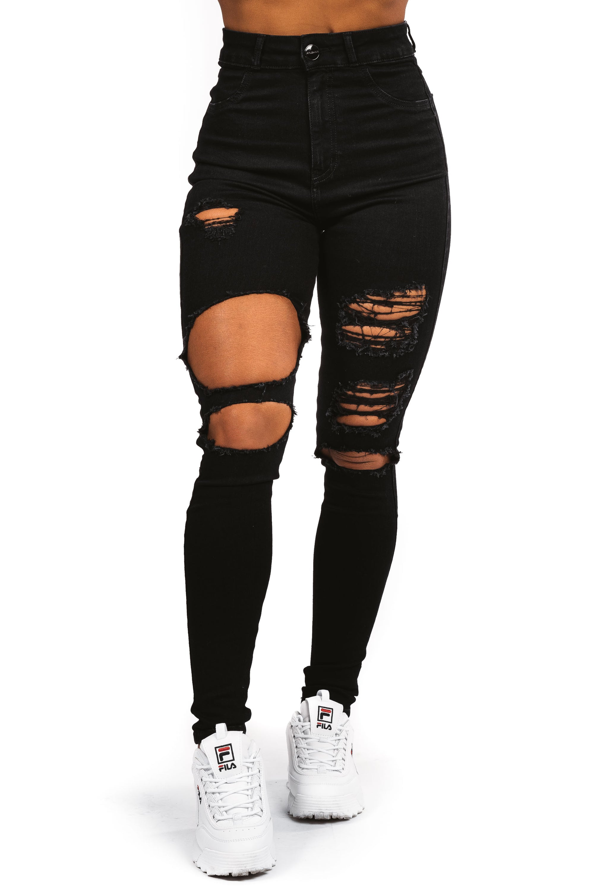 Womens Regular Super Ripped High Waisted - Black