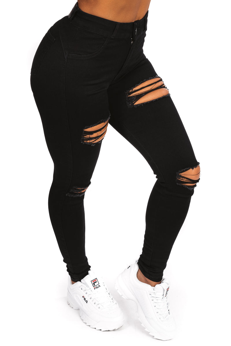 Womens Regular 4 Hole Ripped Mid Waisted Fitjeans - Black