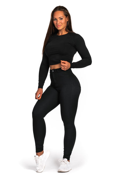 Womens Long Sleeve Crop Top - Black