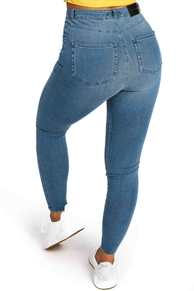 Womens Ripped High Waisted 360 Fitjeans - Arctic Light Blue