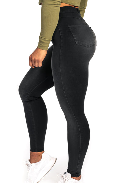 Womens High Waisted 360 Fitjeans - Shaded Black