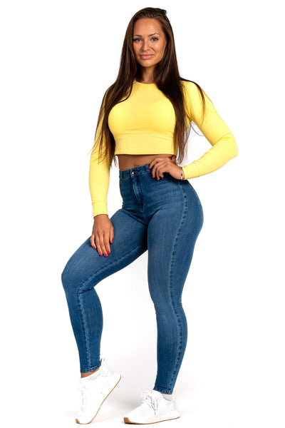 Womens High Waisted 360 Fitjeans - Azure Blue