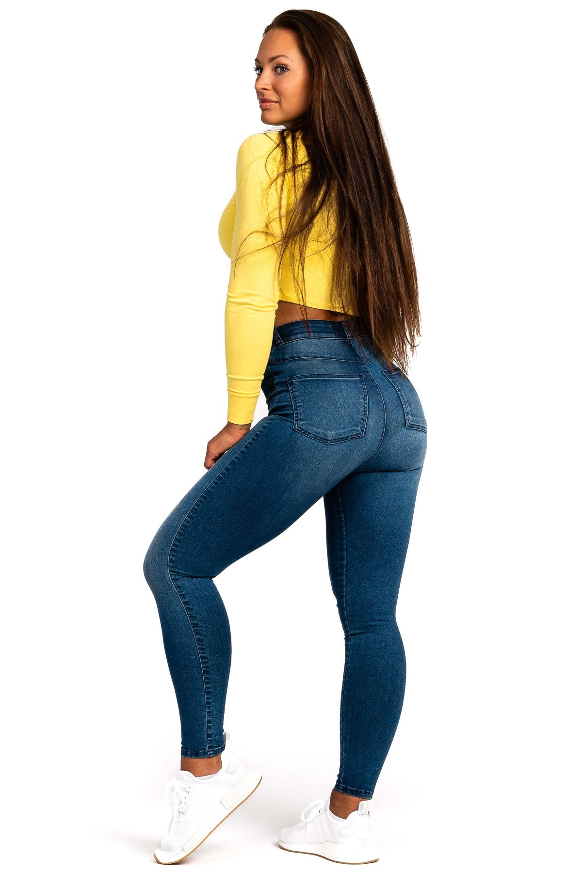 Womens Contour High Waisted Fitjeans - Azure Blue