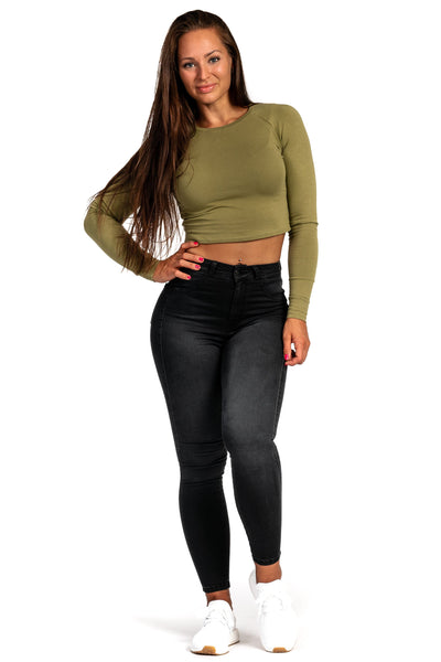 Womens Contour High Waisted Fitjeans - Grey