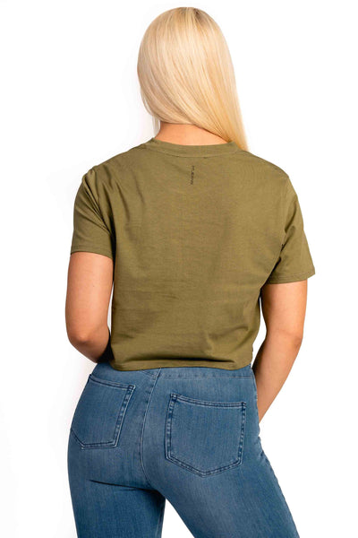 Womens Cropped T-Shirt - Khaki