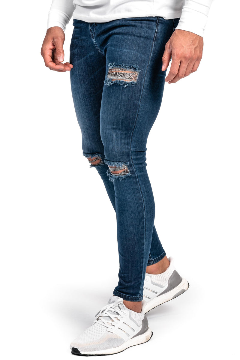 Mens Regular Ripped Fitjeans - Blue Shade