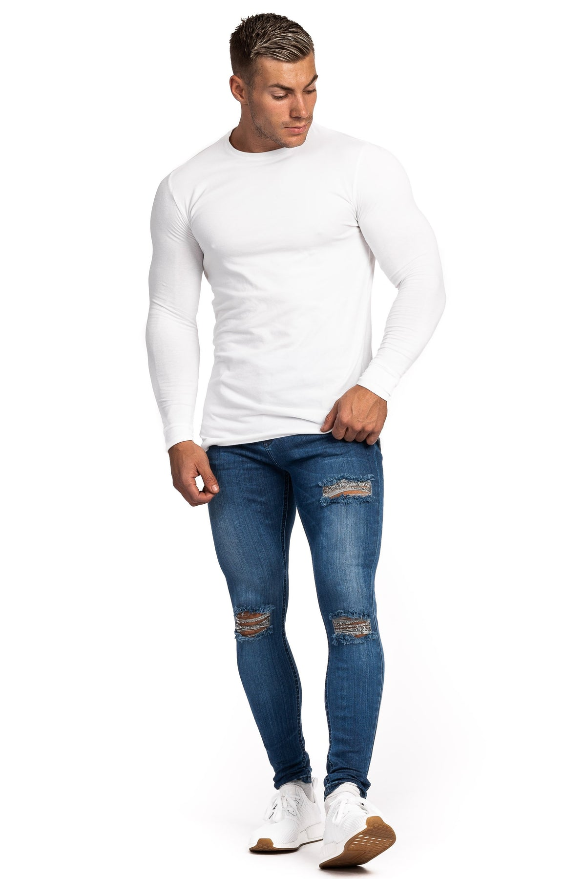 Mens Regular Ripped Fitjeans - Heavy Washed Blue