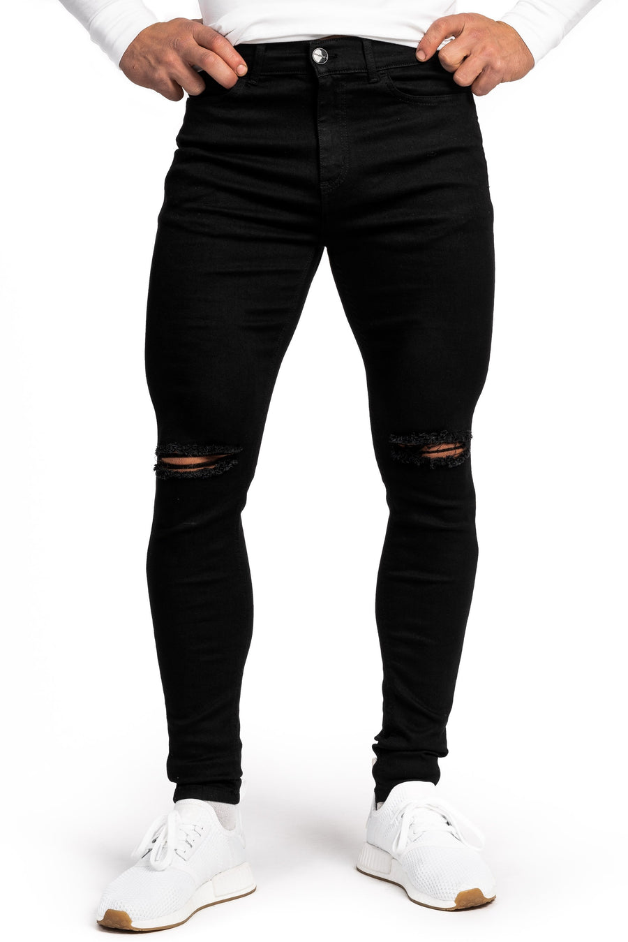 Mens Ripped 360 Fitjeans - Black